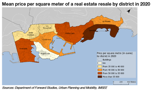 Mean price per square meter of a real estate resale by district in 2020